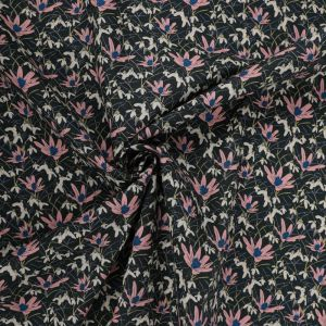 Tudor Floral Print Cotton Poplin Fabric 8086-1 Black 145cm - £2.50 per metre
