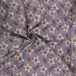 Daisy Chain Print Cotton Poplin Fabric 8051-2 Grey 145cm - £2.50 per metre