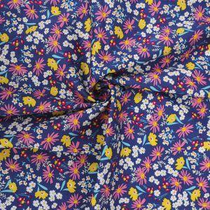 Ditsy Floral Print Cotton Poplin Fabric 8053-3 Navy 145cm - £2.50 per metre