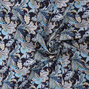 Vintage Paisley Print Cotton Poplin Fabric 8094-2 Navy 145cm - £2.50 per metre