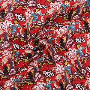 Vintage Paisley Print Cotton Poplin Fabric 8094-4 Red 145cm - £2.50 per metre