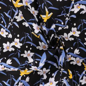 Swallows Print Cotton Poplin Fabric 8043-3 Black 145cm - £2.50 per metre