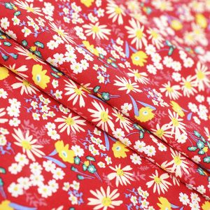 Ditsy Floral Print Cotton Poplin Fabric 8053-2 Red 145cm - £2.50 per metre