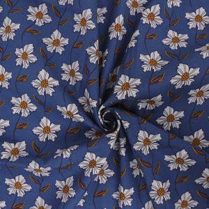 Daisy Chain Print Cotton Poplin Fabric 8051-1 Blue 145cm - £2.50 per metre