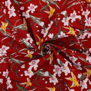 Swallows Print Cotton Poplin Fabric 8043-1 Wine 145cm - £2.50 per metre