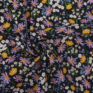 Ditsy Floral Print Cotton Poplin Fabric 8053-1 Black 145cm - £2.50 per metre