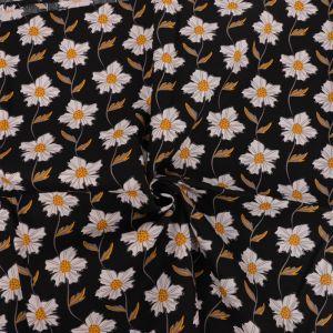 Daisy Chain Print Cotton Poplin Fabric 8051-5 Black 145cm - £2.50 per metre