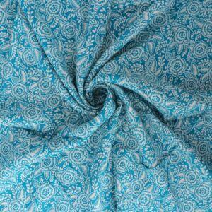 Tudor Rose Print Viscose Poplin Fabric A661-5 Green 145cm - £2.25 per metre
