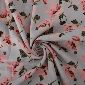 Blossom Print Viscose Poplin Fabric A50547-3 Grey 145cm - £2.25 per metre