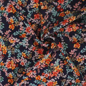 Garden Print Viscose Poplin Fabric A636-4 Blue 145cm - £2.25 per metre