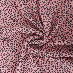 Leopard Print Viscose Poplin Fabric A603-3 Pink 145cm - £2.25 per metre