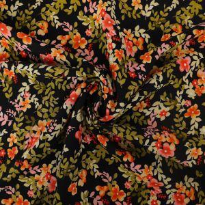 Garden Print Viscose Poplin Fabric A636-3 Black 145cm - £2.25 per metre