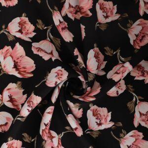 Blossom Print Viscose Poplin Fabric A50547-4 Black 145cm - £2.25 per metre
