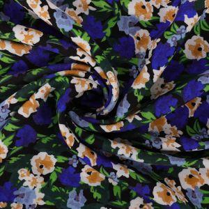 Blooms Print Viscose Poplin Fabric A640-1 Blue 145cm - £2.25 per metre