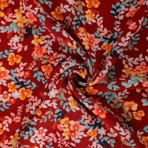 Garden Print Viscose Poplin Fabric A636-2 Burgundy 145cm - £2.25 per metre