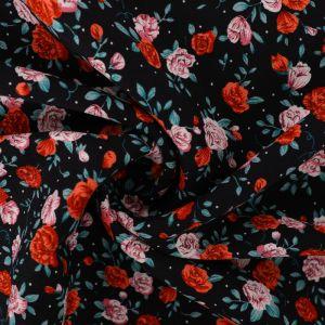 Vintage Rose Print Viscose Twill Fabric F27-2 Black 145cm - £2.99 per metre