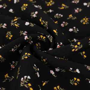 Mini Floral Print Viscose Twill Fabric F28-1 Black 145cm - £2.99 per metre