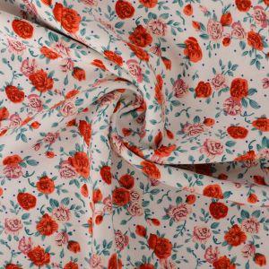 Vintage Rose Print Viscose Twill Fabric F27-3 Cream 145cm - £2.99 per metre