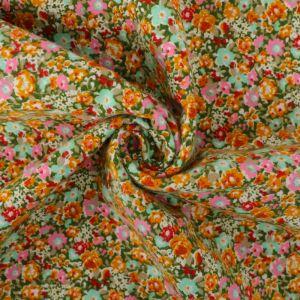 Floral Print Brushed Cotton Fabric 8050-2 Mustard 145cm - £2.99 per metre