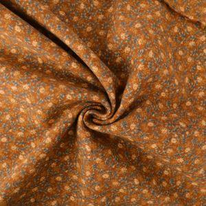Floral Sprig Print Brushed Cotton Fabric 8049-3 Tan 145cm - £2.99 per metre