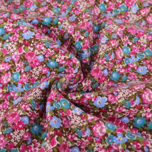 Floral Print Brushed Cotton Fabric 8050-1 Pink 145cm - £2.99 per metre