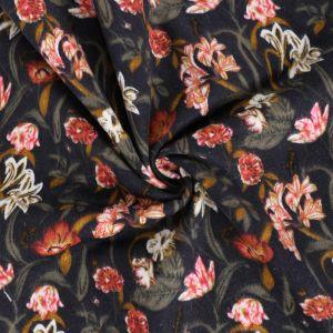 Garden Print Brushed Cotton Fabric 8018 - 2 Navy 145cm - £2.99 per metre
