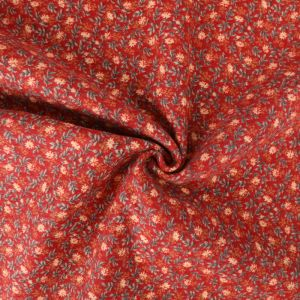 Floral Sprig Print Brushed Cotton Fabric 8049-1 Red 145cm - £2.99 per metre