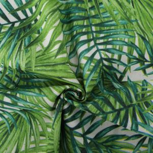 Palm Print Cotton Canvas Fabric BB032 Green 145cm - £2.95 per metre