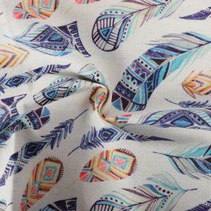 Feathers Print Cotton Canvas Fabric BB026 Multi 145cm - £2.95 per metre