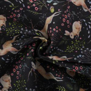 Forest Print Cotton Canvas Fabric BB016 Navy 145cm - £2.95 per metre