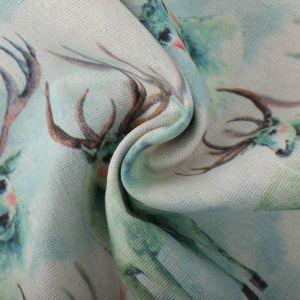 Stags Print Cotton Canvas Fabric BB001 Mint 145cm - £2.95 per metre