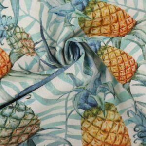 Pinapple Print Cotton Canvas Fabric BB006 Blue 145cm - £2.95 per metre