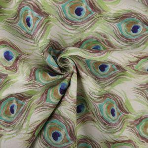Peacock Feather Print Cotton Canvas Fabric BB029 Multi 145cm - £2.95 per metre