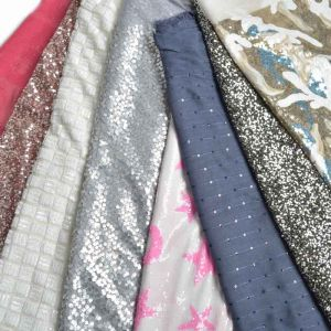 Embroidered Sequins Fabric Remnant Pack Assorted 132cm - £10.50 per kilo