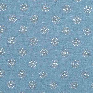 Starburst Embellished  Cotton Denim Fabric 1 Light Blue 145cm