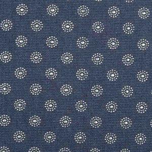 Starburst Embellished  Cotton Denim Fabric 3 Indigo 145cm