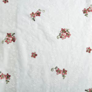 Double Embroidered Floral Fabric Ecru 130cm