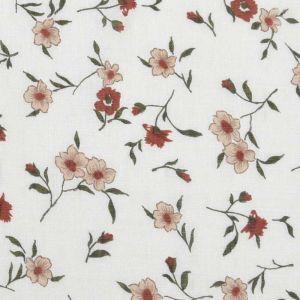 Floral Print  Tumbled Cotton Viscose Fabric  4 Cream Beige 150cm