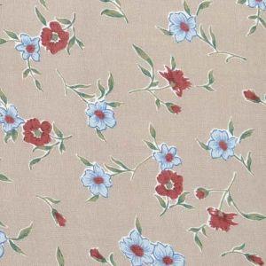 Floral Print  Tumbled Cotton Viscose Fabric  13 Light Brown Wine 150cm