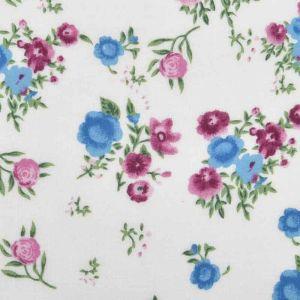 Floral Print Javanaise Viscose 42 Ivory Blue Rose 150cm