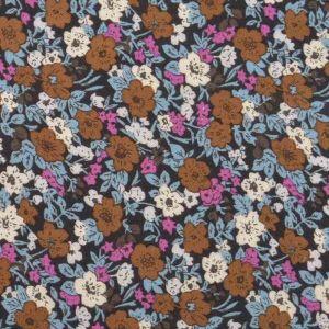 Floral Print Javanaise Viscose 50 Dusty Blue Brown 150cm
