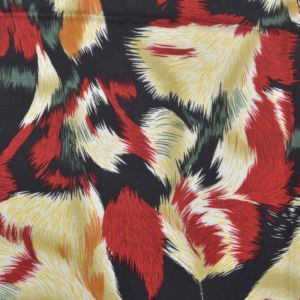 Feather Print Viscose Poplin Fabric 3 Red 138cm