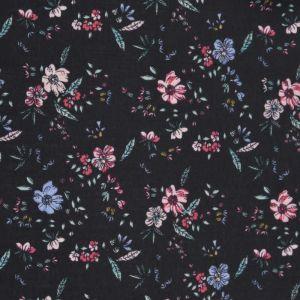 Daisy Print Viscose Poplin Fabric 1 Black 138cm