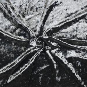 Plain Crushed Velour Fabric 8 Black 160cm - £2.55 per kilo