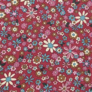 Petal Print Brushed Cotton Fabric 2 Wine 145cm