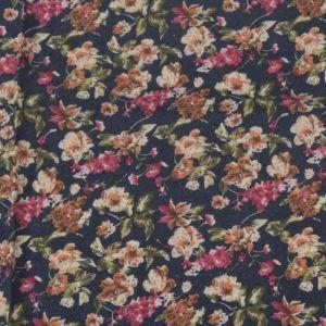 Garden Print Brushed Cotton Fabric 1 Navy 145cm