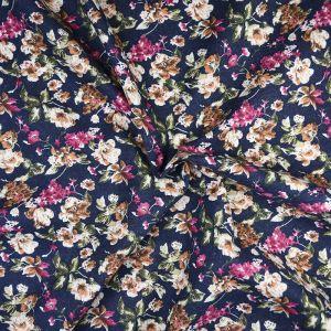 Garden Print Brushed Cotton Fabric 1 Navy 145cm - £2.55 per metre