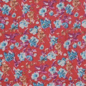 Garden Print Brushed Cotton Fabric 2 Red 145cm - £2.55 per metre