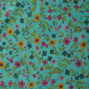 Floral Vintage Print Cotton Fabric - 7235-1 Green 145cm