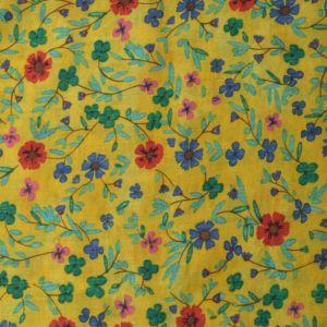 Floral Vintage Print Cotton Fabric - 7235-3 Yellow 145cm